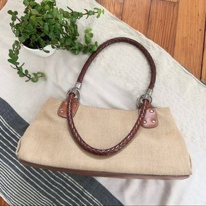 Fossil Canvas Shoulder Bag with Braided Leather